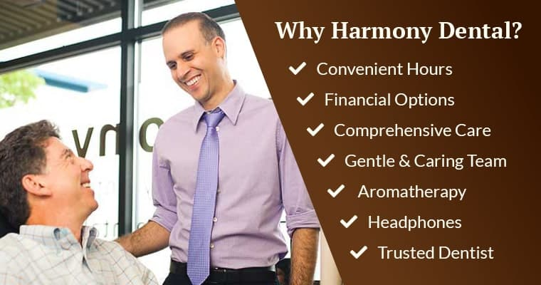 Dr. da Costa with a happy dental patient and a list of benefits in choosing Harmony Dental